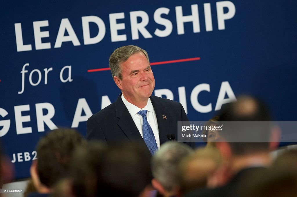 Jeb Bush reacts as he announces the suspension of his presidential campaign at an election night party at the Hilton Columbia Center in Columbia, SC on February 20, 2016. Donald Trump won decisively in the South Carolina Republican Presidential Primary, the 'first in the south.'