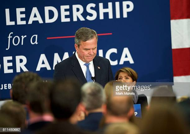 Jeb Bush reacts as he announces the suspension of his presidential campaign at an election night party at the Hilton Columbia Center in Columbia SC...