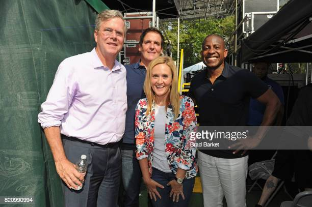 Jeb Bush Samantha Bee Mark Cuban and CEO and CoFounder Carlos Watson pose backstage during OZY FEST 2017 Presented By OZYcom at Rumsey Playfield on...