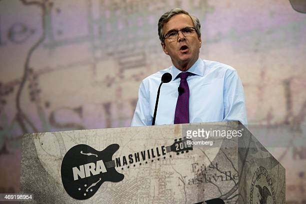 Jeb Bush speaks during the Leadership Forum at the 144th National Rifle Association Annual Meetings and Exhibits at the Music City Center in...