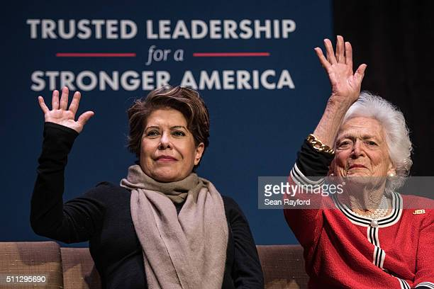 Jeb Bush's wife Columba Bush and former first lady Mrs Barbara Bush show their support for Republican presidential candidate Jeb Bush at a campaign...