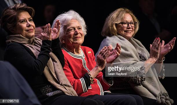Jeb Bush's wife Columba Bush former first lady Mrs Barbara Bush and Iris Campbell applaud for Republican presidential candidate Jeb Bush during a...