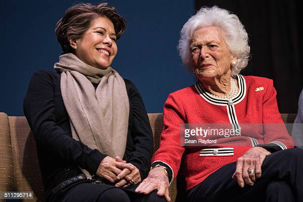 Jeb Bush's wife Columba Bush left and former first lady Mrs Barbara Bush share a moment during a campaign event with Republican presidential...