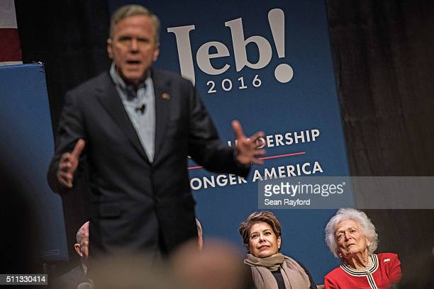 Jeb Bush's wife Columba Bush left and former first lady Mrs Barbara Bush listen to Republican presidential candidate Jeb Bush at a campaign event...