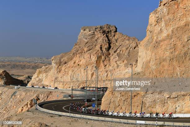 Jebel Hafeet / Peloton / Landscape / Mountains / Desert / during the 6th UAE Tour 2020, Stage 3 a 184km stage from Al Qudra Cycle Track to Jebel...