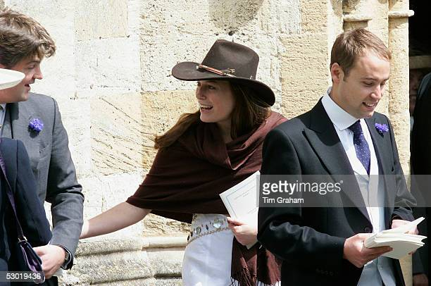 Jecca Craig friend of Prince William among guests at the society wedding of Hugh Van Cutsem Junior to Rose Astor at Burford Parish Church on June 4...