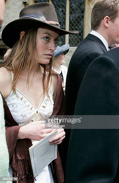 Jecca Craig friend of Prince William appears among guests at the society wedding of Hugh Van Cutsem Junior to Rose Astor at Burford Parish Church on...