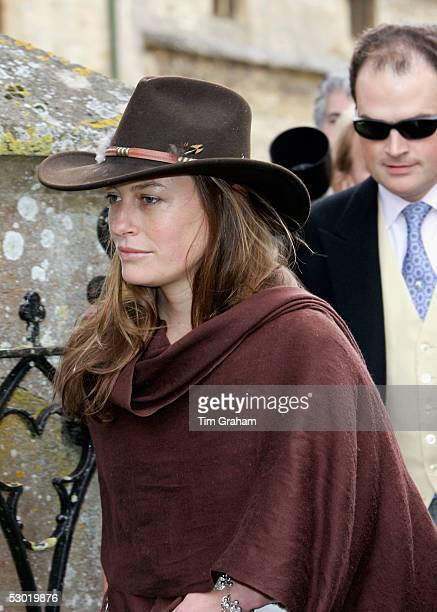 Jecca Craig friend of Prince William is seen among guests at the society wedding of Hugh Van Cutsem Junior to Rose Astor at Burford Parish Church on...