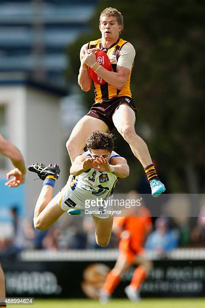 Jed Anderson of Box Hill marks the ball during the VFL Preliminary Final match between Box Hill Hawks and Sandringham at North Port Oval on September...