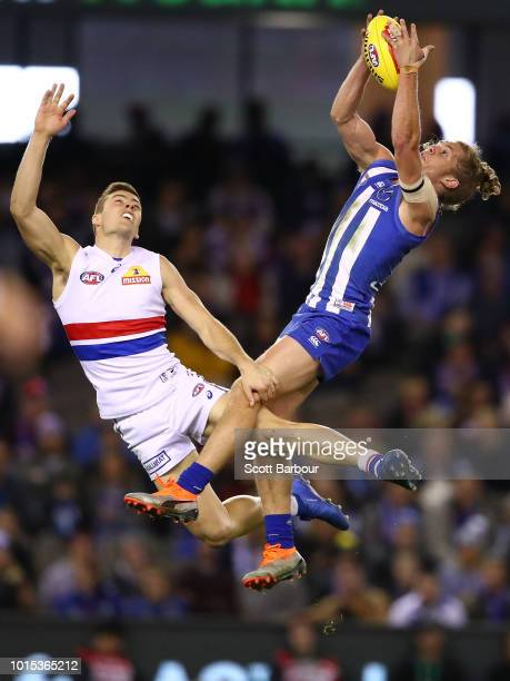 Jed Anderson of the Kangaroos marks the ball during the round 21 AFL match between the North Melbourne Kangaroos and the Western Bulldogs at Etihad...