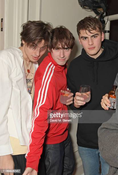 Jed Elliott Gene Gallagher and guest attend the MATCHESFASHION X Bella Freud Musical Matches event at 5 Carlos Place featuring a special performance...