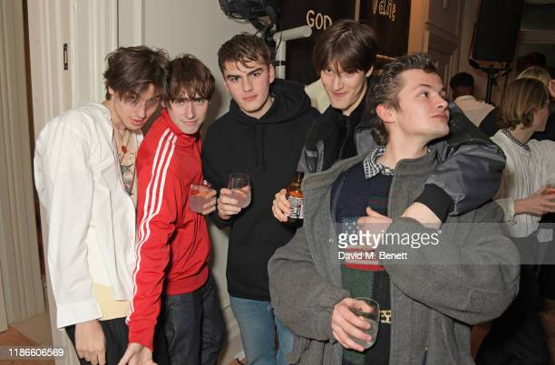 Jed Elliott Gene Gallagher guest Lucas Chancellor and guest attend the MATCHESFASHION X Bella Freud Musical Matches event at 5 Carlos Place featuring...