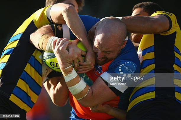Jed Gillespie of the Rams is tackled during the round six NRC match between the Sydney Stars and the Greater Sydney Rams at Leichhardt Oval on...