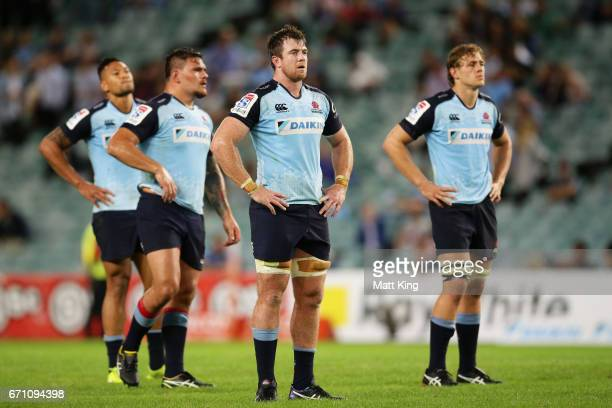 Jed Holloway and Ned Hanigan of the Waratahs looks dejected at fulltime during the round nine Super Rugby match between the Waratahs and the Kings at...