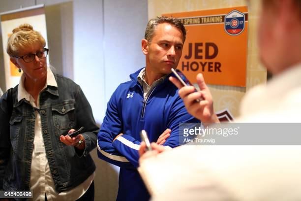 Jed Hoyer general manager of the Chicago Cubs speaks to the media during 2017 Cactus League Media Availability on Tuesday February 21 2017 at the...