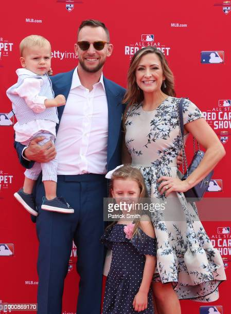 Jed Lowrie of the Oakland Athletics and the American League and guests attend the 89th MLB AllStar Game presented by MasterCard red carpet at...