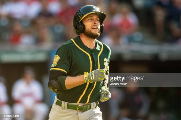 Jed Lowrie of the Oakland Athletics rounds the bases on a two run home run during the eighth inning against the Cleveland Indians at Progressive...