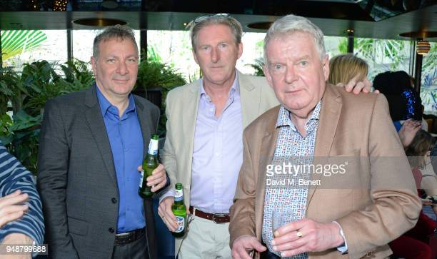 Jed Mercurio Adrian Dunbar and John Motson attend the BAFTA TV Awards Nominees' Party at Mondrian London on April 19 2018 in London England