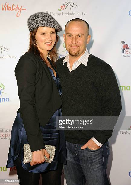 Jed Rhein and a guest arrive at the Los Angeles Derby prelude party at The London Hotel on January 12 2012 in West Hollywood California