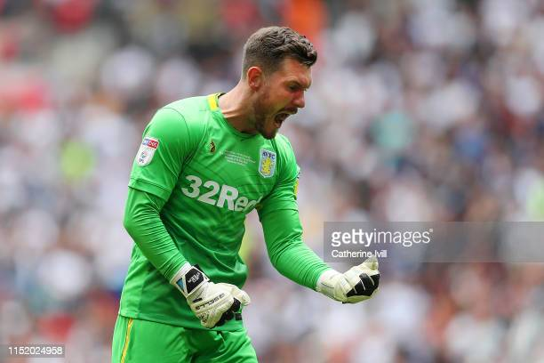 Jed Steer of Aston Villa celebrates after Anwar El Ghazi of Aston Villa scores his team's first goal during the Sky Bet Championship Playoff Final...