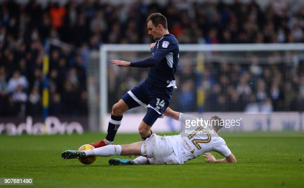 Jed Wallace of Millwall and Laurens De Bock of Leeds United in action during the Sky Bet Championship match between Leeds United and Millwall at...