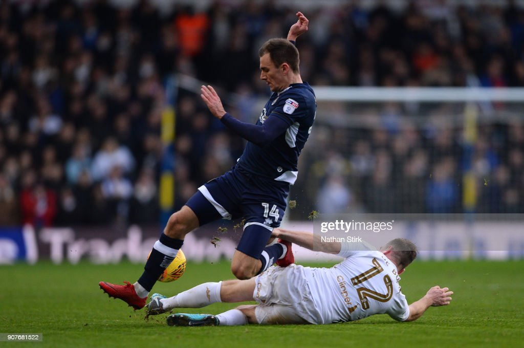 Jed Wallace of Millwall and Laurens De Bock of Leeds United in action during the Sky Bet Championship match between Leeds United and Millwall at Elland Road on January 20, 2018 in Leeds, England.