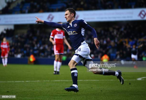 Jed Wallace of Millwall celebrates scoring his sides first goal during the Sky Bet Championship match between Millwall and Middlesbrough at The Den...