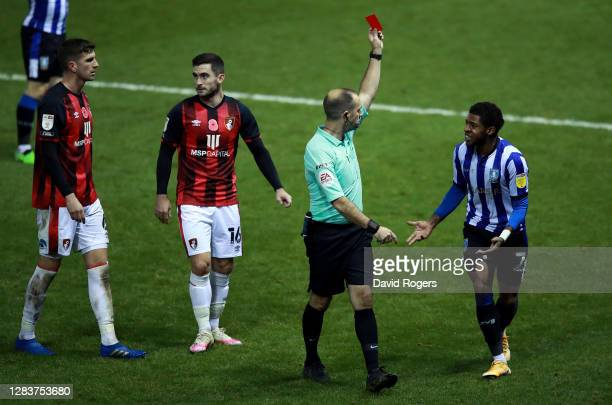 Jed Wallace of Millwall is shown a red card during the Sky Bet Championship match between Sheffield Wednesday and AFC Bournemouth at Hillsborough...