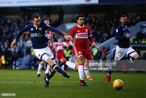 Jed Wallace of Millwall scores his sides first goal during the Sky Bet Championship match between Millwall and Middlesbrough at The Den on December...