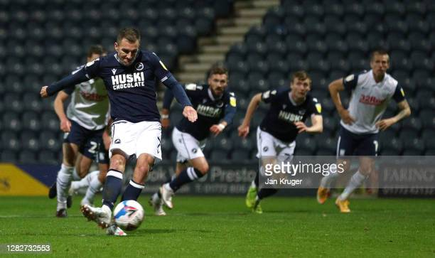 Jed Wallace of Millwall scores his sides second goal from the penalty spot during the Sky Bet Championship match between Preston North End and...