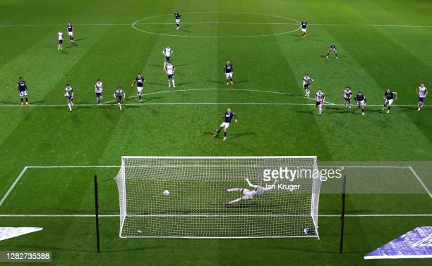 Jed Wallace of Millwall scores his sides second goal from the penalty spot past Declan Rudd of Preston North End during the Sky Bet Championship...
