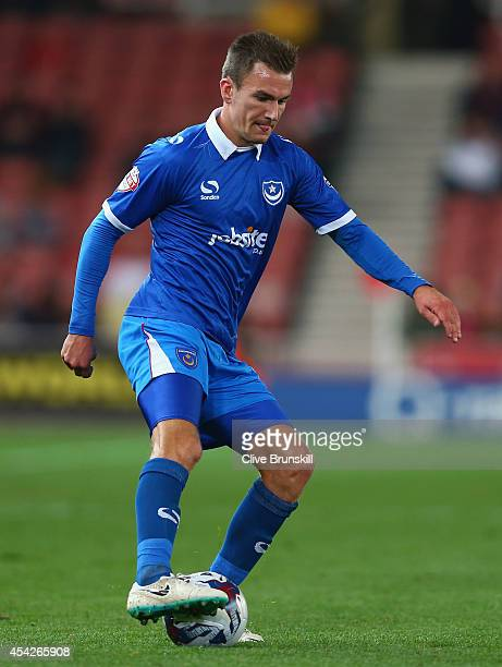 Jed Wallace of Portsmouth in action during the Capital One Cup Second Round match between Stoke City and Portsmouth at Britannia Stadium on August 27...