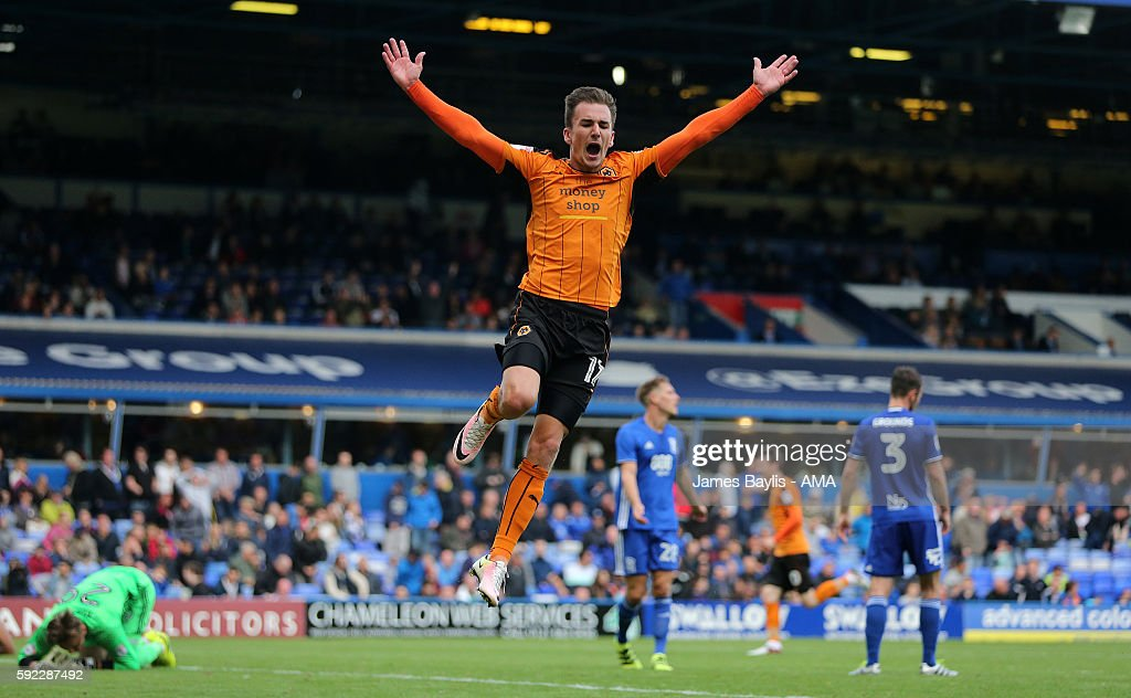 Jed Wallace of Wolverhampton Wanderers celebrates after Jon Dadi Bodvarsson of Wolverhampton Wanderers scored a goal to make it 1-3 during the Sky Bet Championship match between Birmingham City and Wolverhampton Wanderers at St Andrews (stadium) on August 20, 2016 in Birmingham, England.