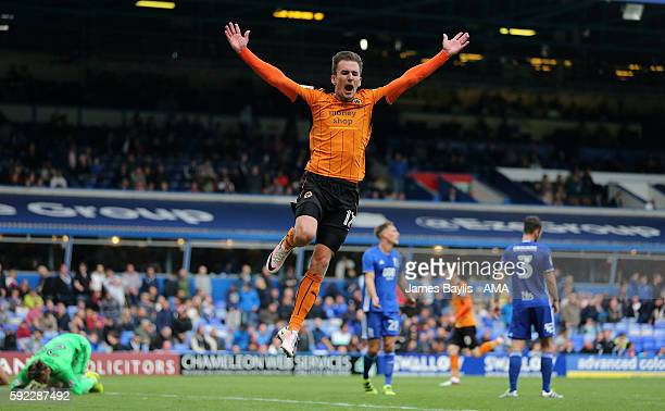 Jed Wallace of Wolverhampton Wanderers celebrates after Jon Dadi Bodvarsson of Wolverhampton Wanderers scored a goal to make it 13 during the Sky Bet...