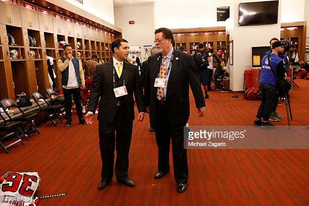 Jed York and CoChariman John York of the San Francisco 49ers talk in the locker room following the game against the Atlanta Falcons at Levi Stadium...