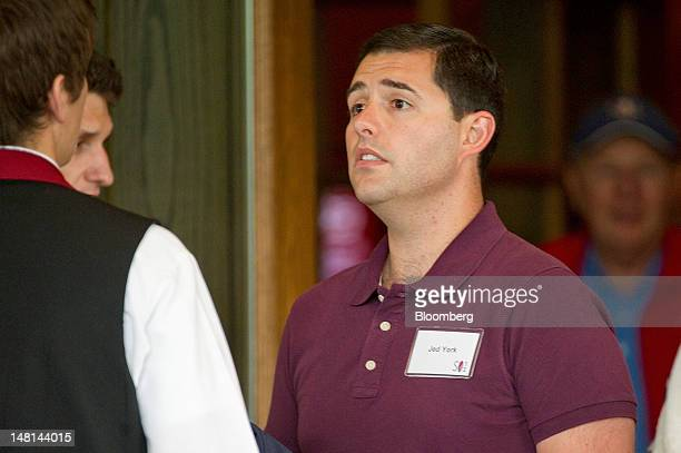 Jed York chief executive officer of San Francisco Forty Niners Ltd the San Francisco 49ers football team arrives at the Allen Co Media and Technology...