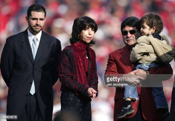 Jed York Denise DeBartolo York and Eddie DeBartolo look on during a ceremony held in Jerry Rice's honor during half time of the NFL game between the...