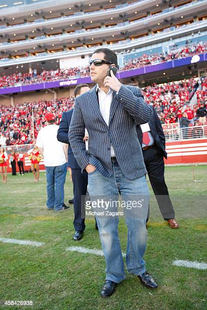 Jed York of the San Francisco 49ers stands on the sideline during halftime of the game against the St Louis Rams at Levi Stadium on November 2 2014...