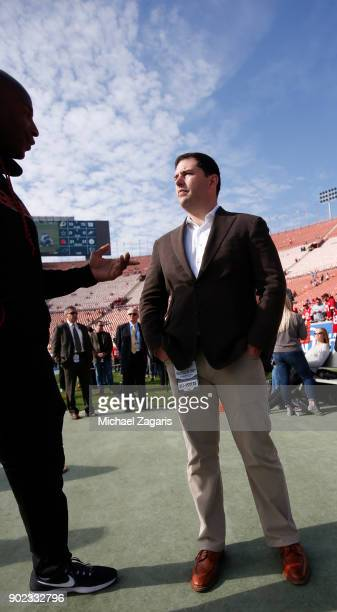 Jed York of the San Francisco 49ers stands on the sideline prior to the game against the Los Angeles Rams at Los Angeles Memorial Coliseum on...