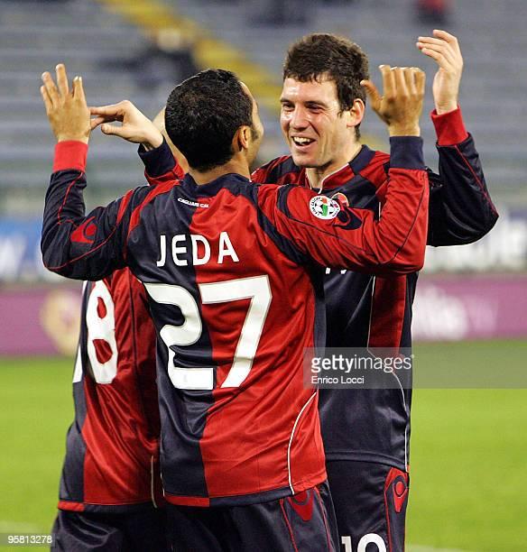 Jeda of Cagliari and team mate Lazzari Andrea celebrate a goal during the Serie A match between Cagliari and Livorno at Stadio Sant'Elia on January...