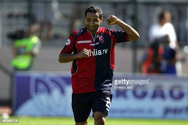 Jeda of Cagliari celebrates after scoring the opening goal of the Serie A match between Cagliari Calcio and Internazionale Milano at Stadio Sant'Elia...