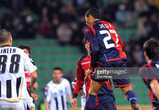 Jeda of Cagliari scores the opening goal of the Serie A match between Udinese Calcio and Cagliari Calcio at Stadio Friuli on February 24 2010 in...