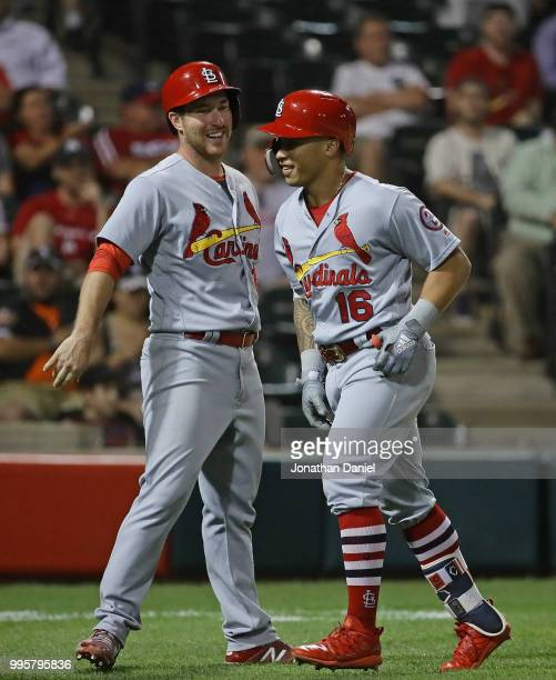 Jedd Gyorko and Kolten Wong of the St Louis Cardinals celebrate Wongs' two run home run in the 8th inning against the Chicago White Sox at Guaranteed...