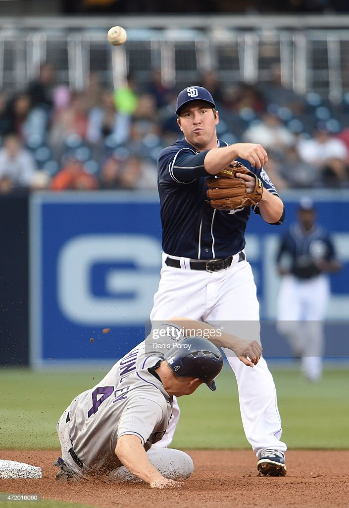 Jedd Gyorko #9 of the San Diego Padres throws over Nick Hundley #4 of the Colorado Rockies as he turns a double play during the fourth inning of a baseball at Petco Park May 2, 2015 in San Diego, California.