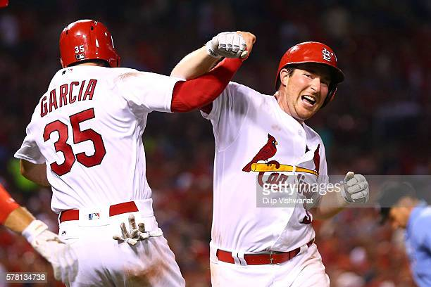 Jedd Gyorko of the St Louis Cardinals celebrates after hitting his second home run of the night against San Diego Padres in the fifth inning in the...