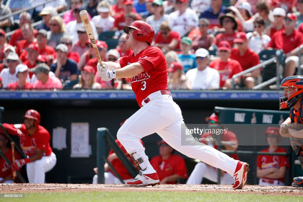 Jedd Gyorko #3 of the St Louis Cardinals hits a two run home run against the Houston Astros in the second inning during a spring training game at Roger Dean Stadium on March 13, 2017 in Jupiter, Florida. The Cardinals defeated the Astros 6-3.