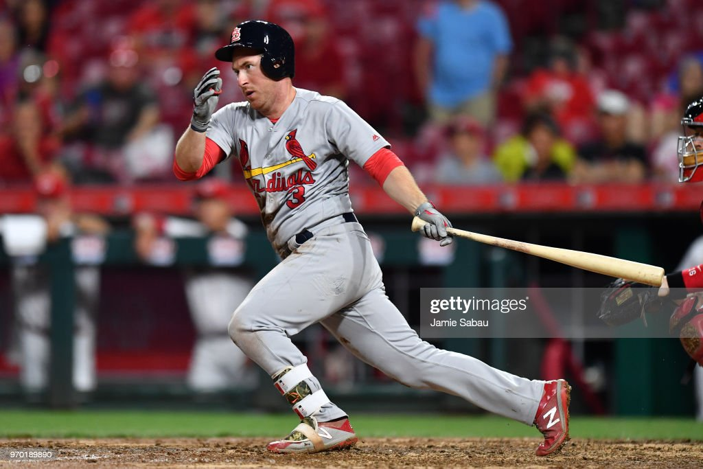 Jedd Gyorko #3 of the St. Louis Cardinals hits an RBI single in the 10th inning to give St. Louis the lead against the Cincinnati Reds at Great American Ball Park on June 8, 2018 in Cincinnati, Ohio. St. Louis defeated Cincinnati 7-6 in 10 innings.