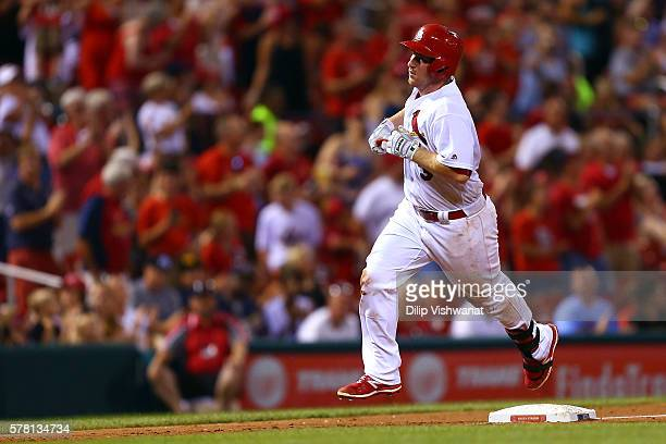 Jedd Gyorko of the St Louis Cardinals rounds the bases after hitting his second home run of the night against San Diego Padres in the fifth inning in...