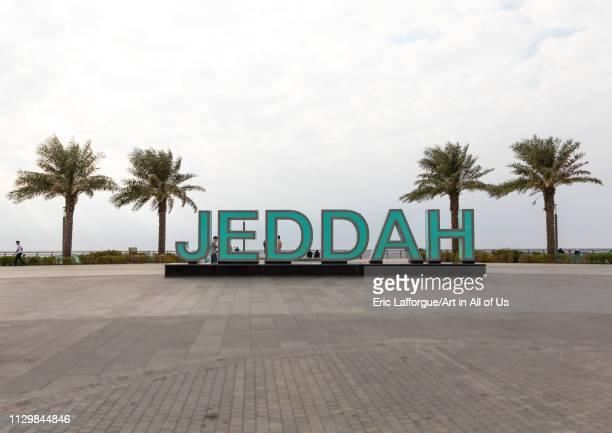 Jeddah giant letters on the seafront, Mecca province, Jeddah, Saudi Arabia on December 14, 2018 in Jeddah, Saudi Arabia.