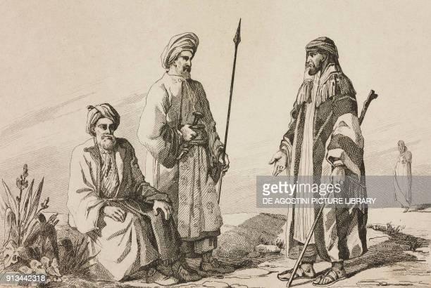 1 Jeddah priest 2 High class Arabic 3 Wahhabi cheaf Arabia engraving by Lemaitre and Traversier from Arabie by Noel Desvergers avec une carte de...